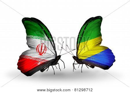 Two Butterflies With Flags On Wings As Symbol Of Relations Iran And Gabon