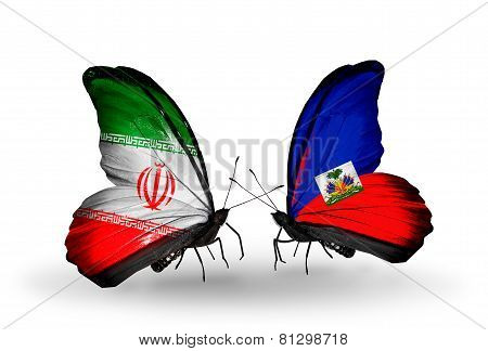 Two Butterflies With Flags On Wings As Symbol Of Relations Iran And Haiti