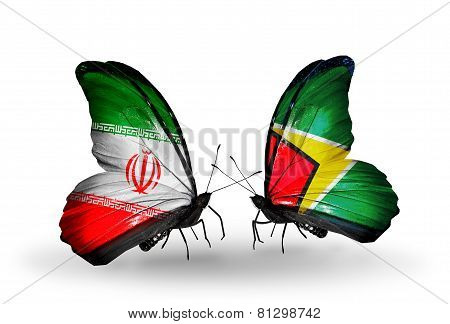 Two Butterflies With Flags On Wings As Symbol Of Relations Iran And Guyana