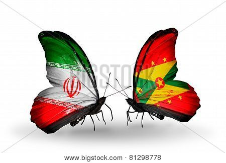 Two Butterflies With Flags On Wings As Symbol Of Relations Iran And Grenada
