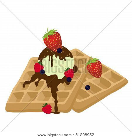 Waffles With Chocolate, Ice Cream And Berries On White