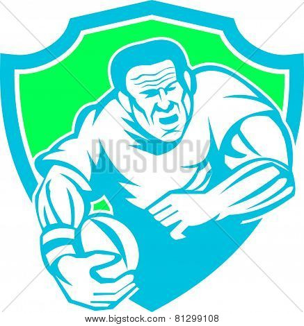Rugby Player Running Ball Shield Linocut