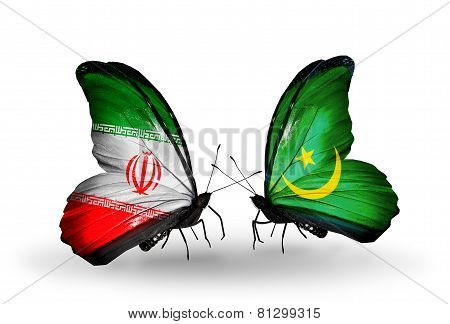 Two Butterflies With Flags On Wings As Symbol Of Relations Iran And Mauritania