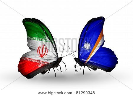 Two Butterflies With Flags On Wings As Symbol Of Relations Iran And Marshall Islands
