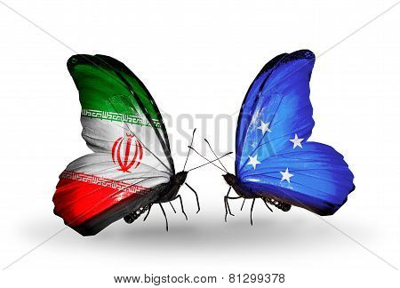 Two Butterflies With Flags On Wings As Symbol Of Relations Iran And Micronesia