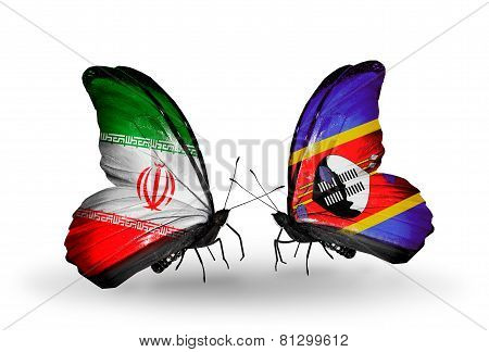 Two Butterflies With Flags On Wings As Symbol Of Relations Iran And Swaziland