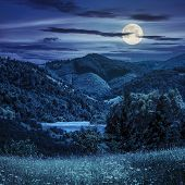 stock photo of moon stars  - composite mountain summer landscape - JPG