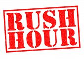 picture of weekdays  - RUSH HOUR red Rubber Stamp over a white background - JPG