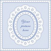 foto of eyeleteer  - Copy space for your favorite picture in this oval white eyelet lace doily frame - JPG