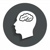 picture of headings  - Head with brain sign icon - JPG