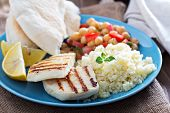 pic of tabouleh  - Middle Eastern style meal with cheese - JPG