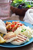 stock photo of tabouleh  - Middle Eastern style meal with cheese - JPG