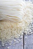 stock photo of rice noodles  - Dry rice and noodles from rice flour on the table