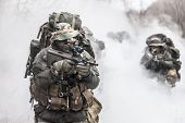 pic of raid  - Group of jagdkommando soldiers Austrian special forces in the smoke