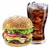 picture of takeaway  - Hamburger and cola drink - JPG