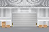 stock photo of roller shutter door  - Illustration of shutter door outside factory gray color - JPG
