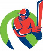 picture of bat  - Illustration of a cricket player batsman with bat batting set inside circle done in retro style on isolated background - JPG