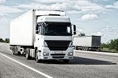 picture of trucking  - White truck on road - JPG
