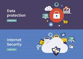 pic of social-security  - Set of flat design vector illustration concepts for data protection - JPG