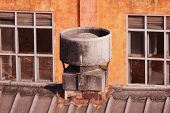 stock photo of exhaust pipes  - Industrial Exhaust Fans on red color Olden bricks factory - JPG