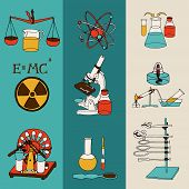 pic of scientific research  - Science chemistry and physics scientific research lab equipment colored sketch banner set isolated vector illustration - JPG