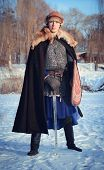 picture of reconstruction  - young man historical reconstruction warrior of ancient Russia - JPG