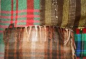 pic of transverse  - background multicolored old wool blanket stitched cell - JPG