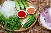 picture of scallion  - Vietnamese food meatball make from ground meat delicious popular street food or Vietnam meal season with vegetable as - JPG