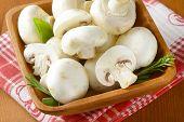 stock photo of mushroom  - wooden bowl full of white unpeeled mushrooms - JPG