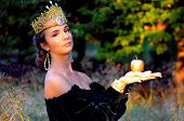 image of queen crown  - Elegant young woman dressed like queen with a crown holdingan apple - JPG