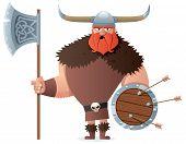 stock photo of viking  - Cartoon Viking over white background - JPG