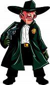 picture of gunslinger  - Cartoon cowboy sheriff pulling a gun - JPG