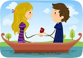 stock photo of marriage proposal  - Illustration of a Man Proposing Marriage to His Girlfriend While Out Boating in a Lake - JPG