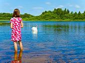 foto of summer fun  - girl and white swan at blue lake - JPG