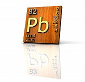 Lead Form Periodic Table Of Elements - Wood Board