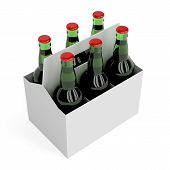picture of six pack  - Six pack of lager beer bottles on white background - JPG