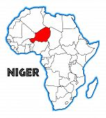 foto of outline  - Niger outline inset into a map of Africa over a white background - JPG