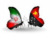 stock photo of papua new guinea  - Two butterflies with flags on wings as symbol of relations Iran and Papua New Guinea - JPG