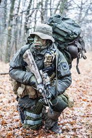 pic of raid  - Jagdkommando soldier Austrian special forces equipped with Steyr assault rifle during the raid  - JPG