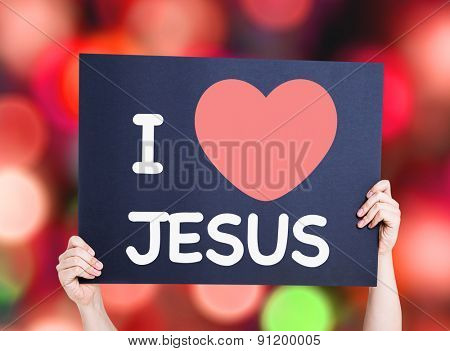 I Love Jesus card with bokeh background