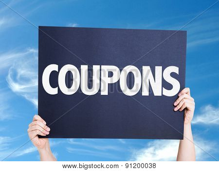 Coupons card with sky background