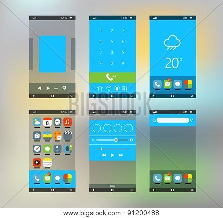 Modern smartphone interface with flat material design screens