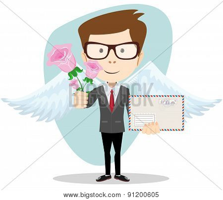 Postman with wings and flowers, vector illustration