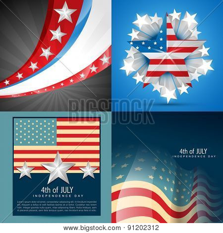 vector collection of american flag background in different style