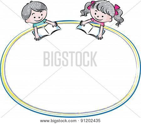 kids reading witn blank border
