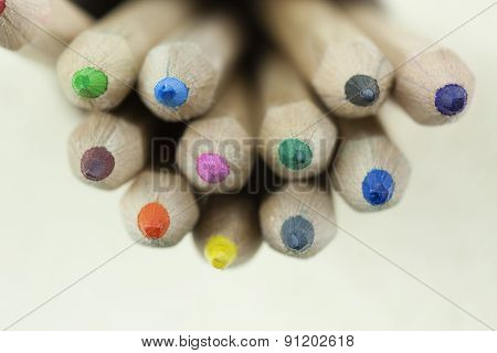 Close Up Of Coloured Pencils