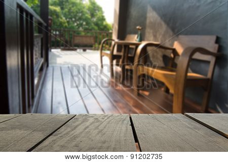 Defocus And Blur Image Of Terrace Wood And Wooden Terrace And Cl