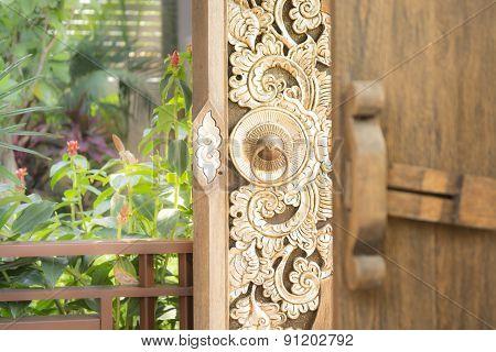 Vintage Door Of Thai Style Home Usage
