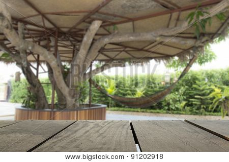 Defocus And Blur Image Of Terrace Wood And Beautiful Relax Place