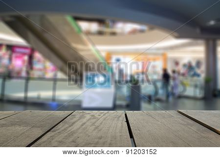 Defocus And Blur Image Of Terrace Wood And Beautiful Shopping Ma